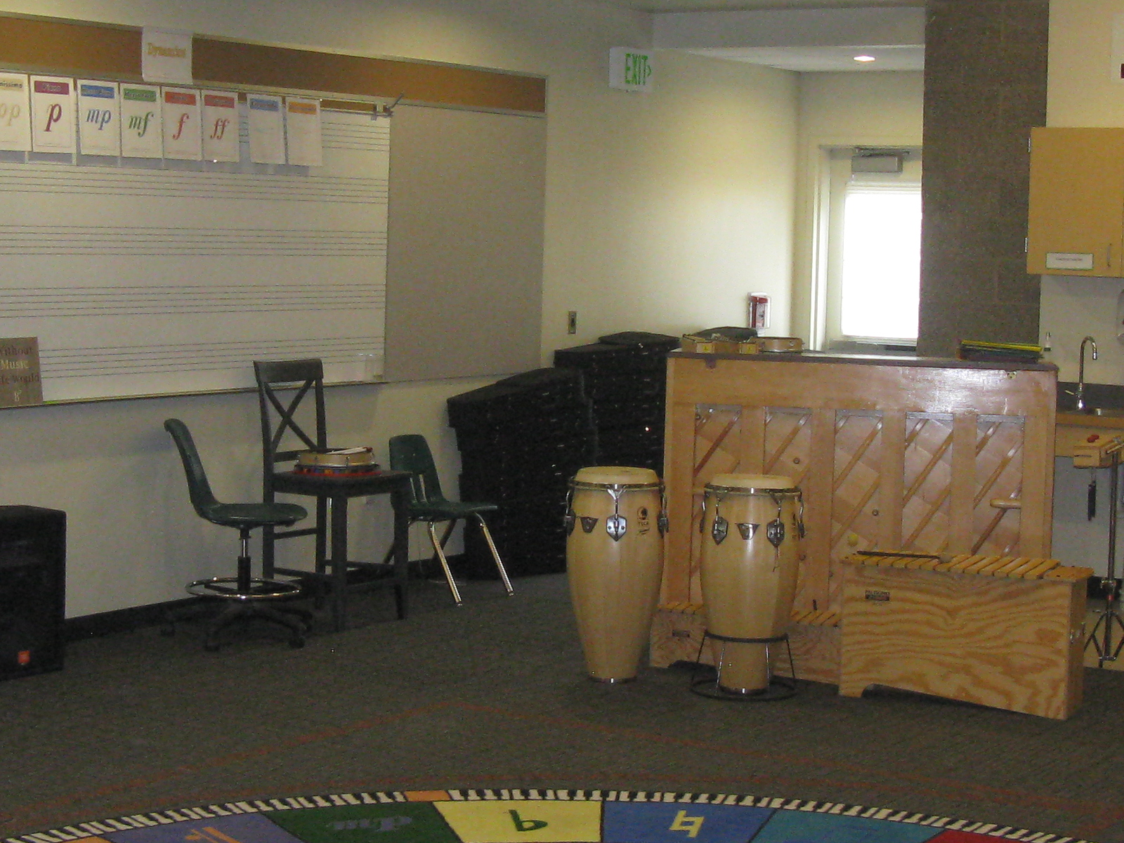 Piano and drums in the Carson Elementary School music classroom